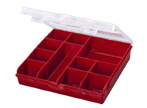 Stack-On SBR-13 13 Compartment Storage Organizer Box with Removable Dividers, Red by Stack-On. $6.48. Clear see-through lid allows you to see the contents at a glance. Store crafts, nails, nuts and bolts, outdoor items, etc. Cover firmly snaps shut to secure contents. 13-compartment storage box with removable dividers. Easy scoop design for convenient access to small parts. From the Manufacturer                Stack-On's 13-compartment storage box with removab...