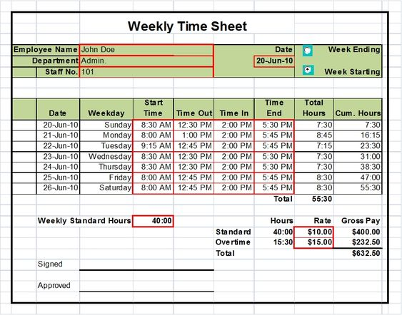 Timesheet Templates Excel 1, 2 & 4 week versions | Tools, Tool ...
