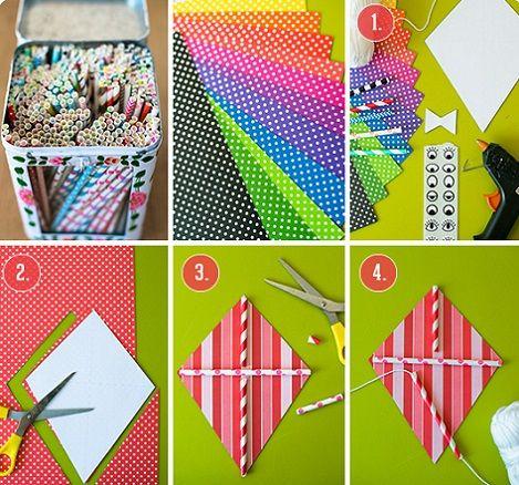 Como hacer una cometa de papel learn and play - Como hacer manualidades de papel ...
