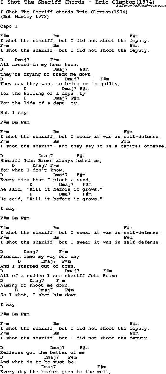 Song I Shot The Sheriff Chords By Eric Clapton1974 With Lyrics