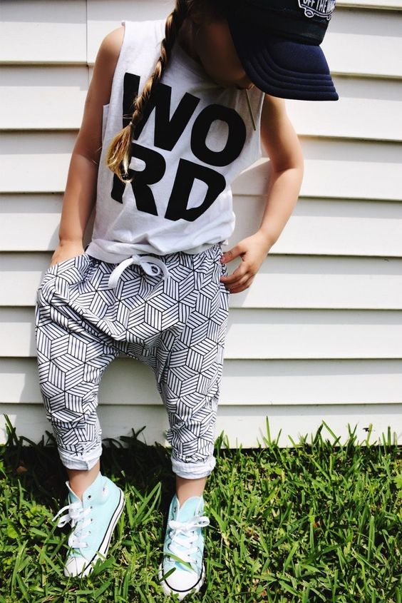 Click here for the best baby/toddler summer style. sporty girl style. monochrome joggers. athleisure cutoff tee.: