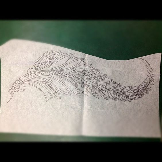 Oooooh to be pinning Instagram photos!... heheh :D   /////  Gorgeous draft of a polynesian style feather tattoo, by PolynesianWorks