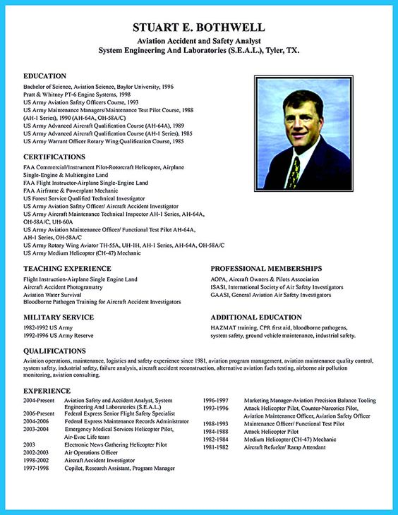 Resume, Make your and Resume examples on Pinterest - helicopter pilot resume