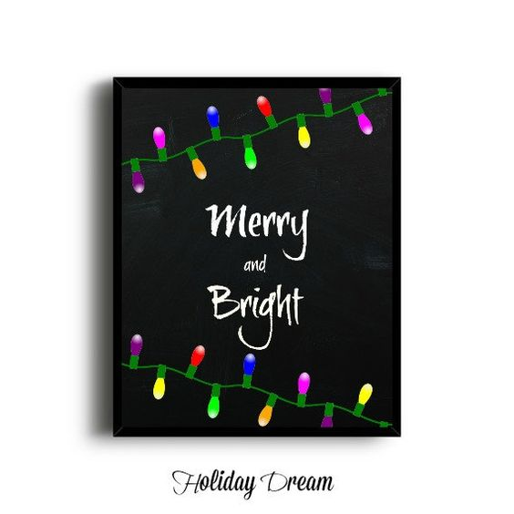 Digital Chalkboard Merry and Bright Print by HolidayDream on Etsy