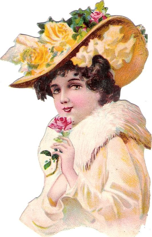 Oblaten Glanzbild scrap die cut chromo Dame lady Kopf Hut Pelz girl Mädchen Rose: