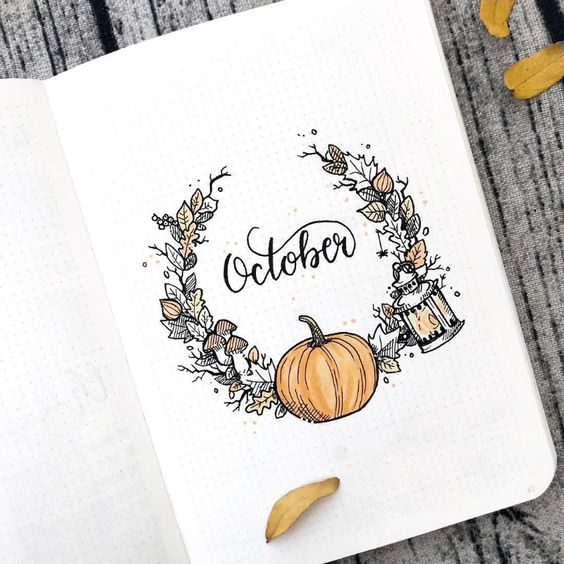 Halloween bullet journal theme for October, monthly welcome cover page by @paperlemons