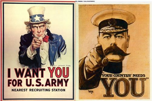 "#TuesdayTrivia:  The famous ""Uncle Sam"" World War I army recruitment poster ""I Want YOU for the U.S. Army"", designed by James Montgomery Flagg, was actually an inspirational version of the British poster ""Your Country Needs You"" by Alfred Leete.  #posterdesign"