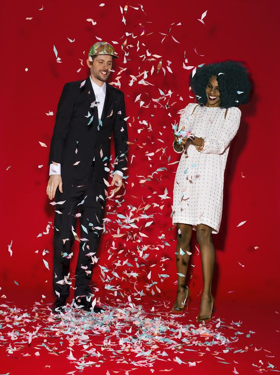Myles and Lindsey Tipley, DJs, have been married since 2007. Myles Tipley in a Prada tuxedo and shirt, and Dior Homme shoes. Lindsey Tipley in a Chloe dress and Christian Louboutin shoes.