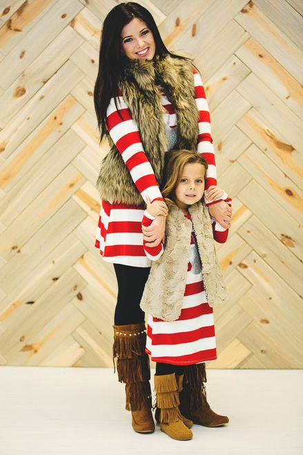 Mommy and Me Reindeer Tunic Dress Red Striped - Ryleigh Rue Clothing by Modern Vintage Boutique: