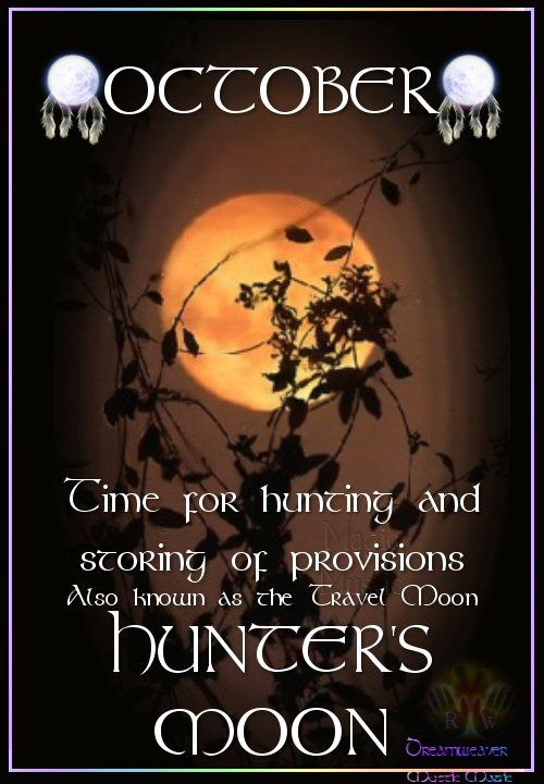 Moon:  OCTOBER ~ HUNTERS #MOON: Also known as the Travel Moon. Time for hunting and storing of provisions.