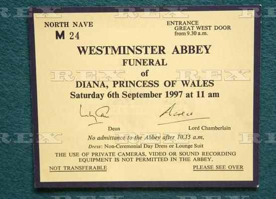 Invite to the funeral of Diana, Princess of Wales Youre KILLING - invitation for funeral