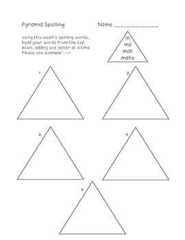 use this pyramid spelling template for your students to practice building their spelling words. Black Bedroom Furniture Sets. Home Design Ideas