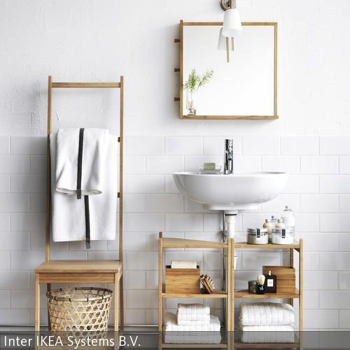 Eine natürliche Badezimmereinrichtung schaffen die einfachen Badmöbel aus Bambus. Ein sehr praktisches und witziges Accessoire zugleich ist hierbei der Stuhl  …