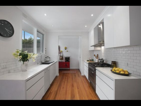 Modern white galley kitchen house stuff pinterest for Small white galley kitchens