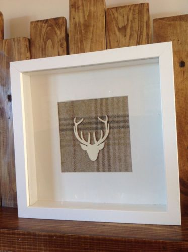 Hand-made Scottish Wooden Stag Head Picture Moon Tartan Fabric Antler Deer | eBay