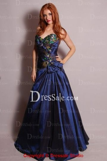 Peacock Feather, Sweetheart Neckline, Princess Dress. Unique dress for a bride who doesn't want to wear white or very elaborate/formal bridesmaid dresses.