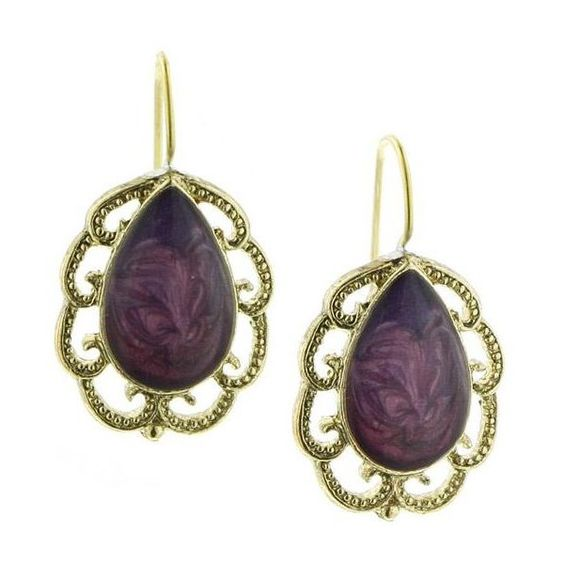 Bourges Enamel Purple Drop Earrings (14 CAD) found on Polyvore