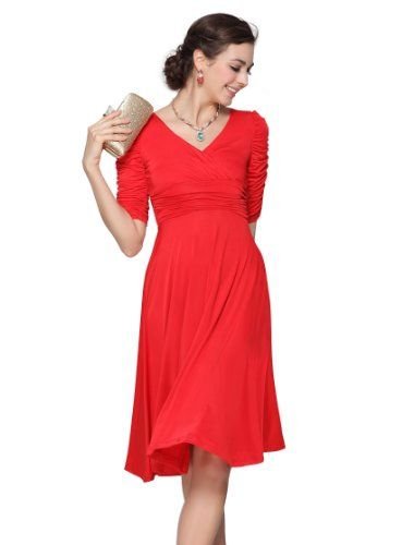 HE03632RD06, Red, 4US, Ever Pretty 3/4 Sleeve Sexy V-neck Short Cocktail Dress 03632 Ever-Pretty,http://www.amazon.com/dp/B00ESY7ZLG/ref=cm_sw_r_pi_dp_Q914sb1DWKJY1MX4
