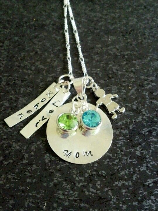 Hand Stamped Mom Necklace with Name Pendants, birthstones, and lil' boy charms (can be done with little girl) $25 Metallic Kreations