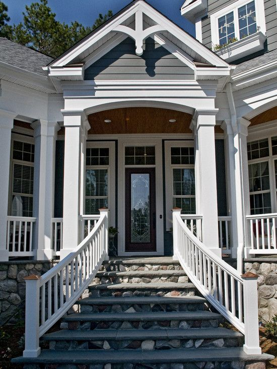 Front Steps Railing Home Design Ideas Pictures Remodel And Decor: Entry Stairs, Stone Backsplash And Railing Design On Pinterest