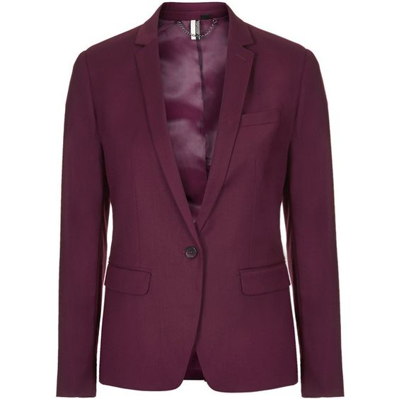 TOPSHOP Premium Oxblood Suit Blazer ($50) ❤ liked on Polyvore featuring outerwear, jackets, blazers, oxblood, topshop, blazer jacket, tailored blazer, purple blazer and tailored jacket