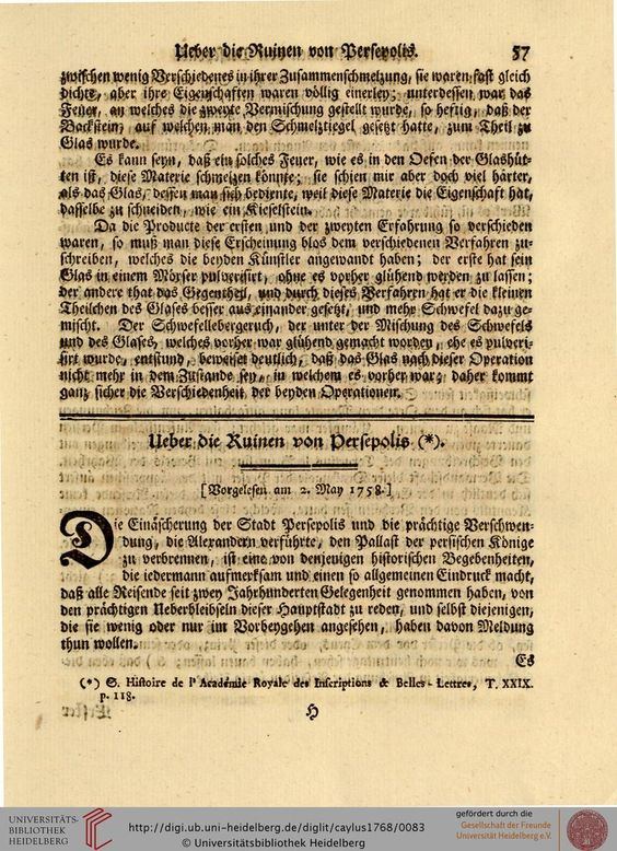 Ueber die Ruinen van Persepolis - Caylus, Anne Claude Philippe de; Meusel, Johann Georg [Übers.]: Des Herrn Grafen von Caylus Abhandlungen zur Geschichte und zur Kunst (Band 1) (Altenburg, 1768)