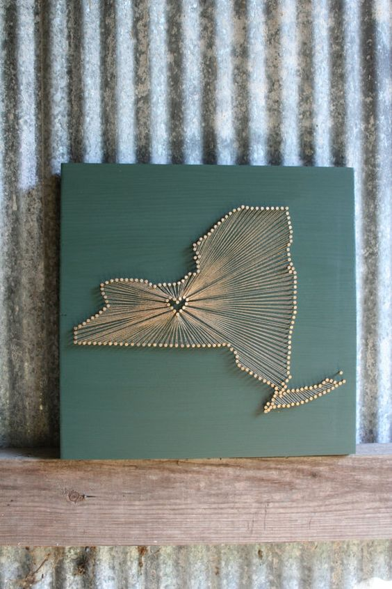 New york love reclaimed wood nail and string art by for Reclaimed wood new york
