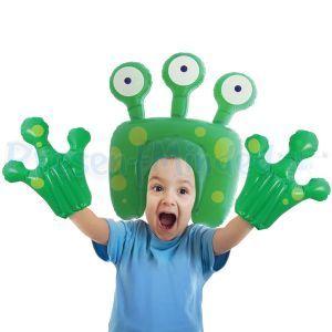 Inflatable Alien Head Wig and Hands Air Hedz Kids Fancy Dress Costume