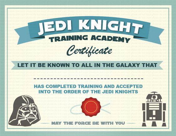 Instant Dl Jedi Knight Certificate Star Wars Birthday Party