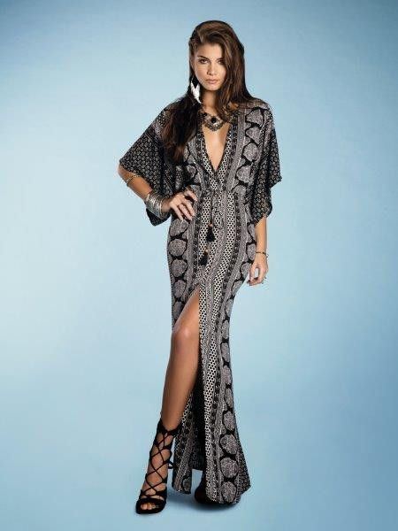 Kaftan Dress with plunging V-Neckline, 3/4 length kimono sleeves,front waist ties, and side slit.