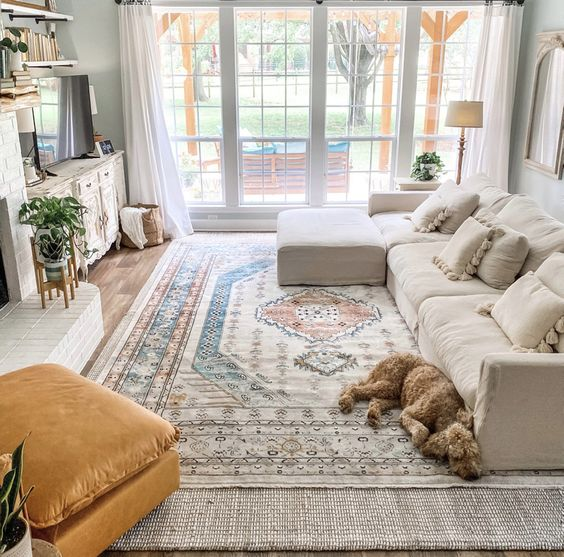Well placed rugs makes a cozy living room