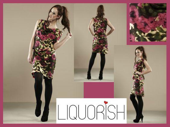 Liquorish Golden Pink Rose Dress, better than half price now! Available at: https://www.liquorishonline.com/liquorish-golden-pink-rose-dress.html