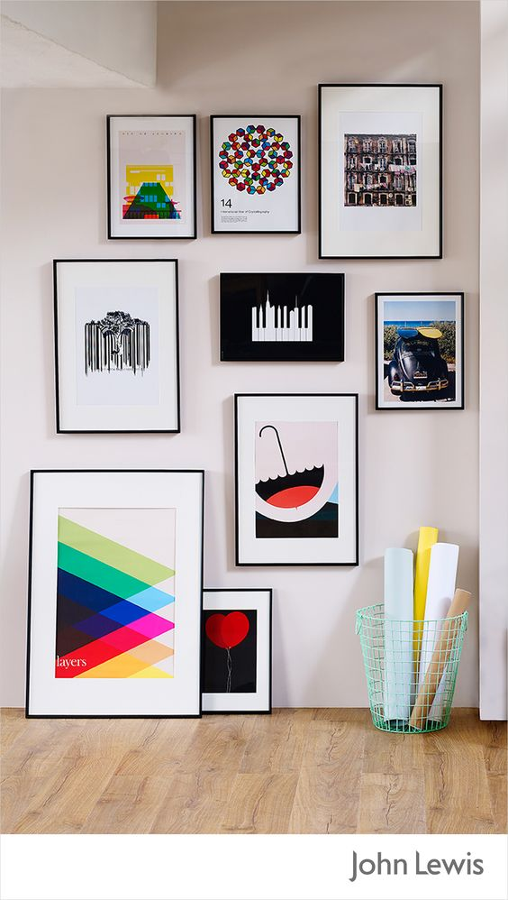 Make a statement with your own gallery wall. Choose from graphic prints and photos in a range of styles to help you create an eclectic look. It's the ideal way to personalize a small space like a hall or stairway, or even your bedroom or living space. Experiment with a mix styles and eras, but use the same frame to help bring it all together. And don't fret – we've got a Made to Measure framing service for those tricky sizes.