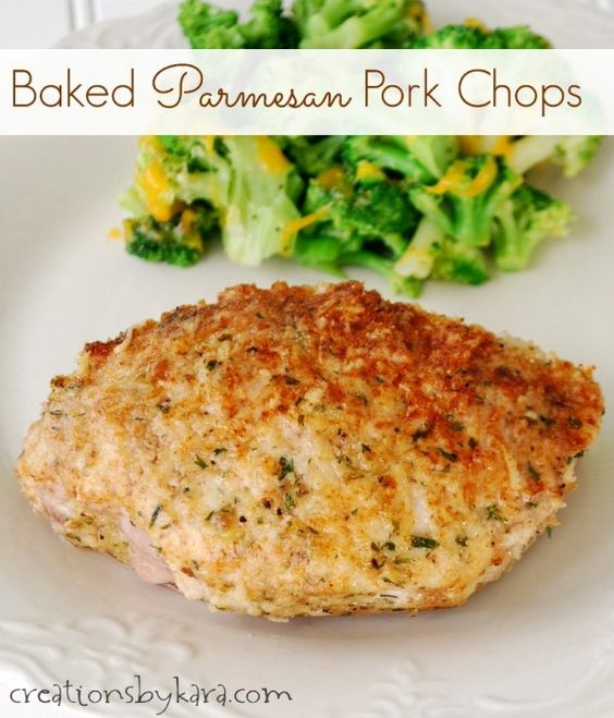 Simple recipe for parmesan crusted baked pork chops. Nice ...