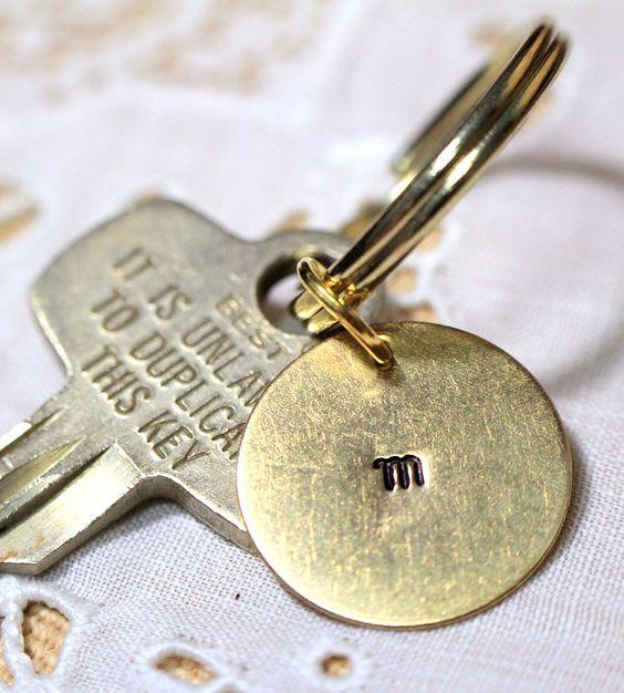 Custom Initial Stamped Brass Key Ring