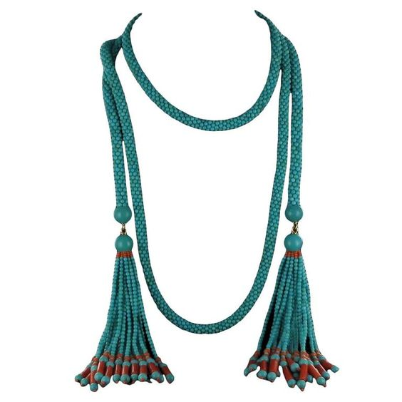 French Turquoise Coral Sautoir Necklace | From a unique collection of vintage beaded necklaces at https://www.1stdibs.com/jewelry/necklaces/beaded-necklaces/