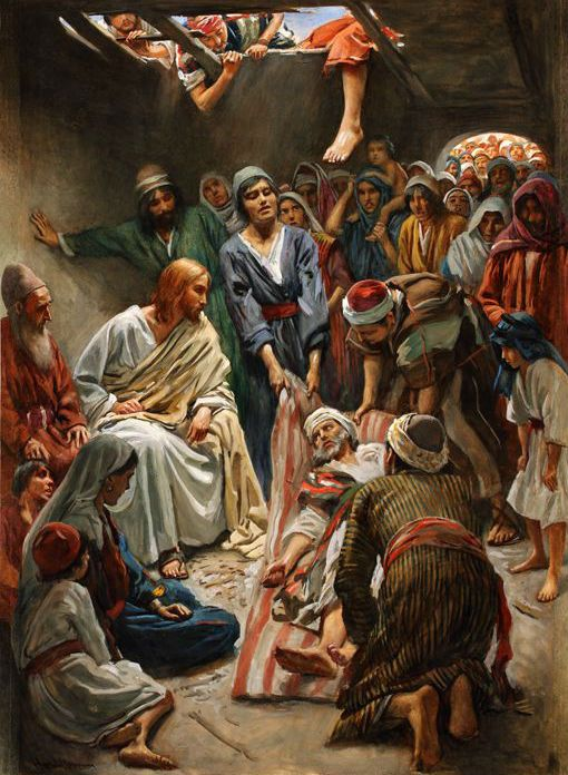 Harold Copping, Jesus Heals the Paralytic   Mark 2:4 and not being able to come near to him because of the multitude, they uncovered the roof where he was, and, having broken [it] up, they let down the couch on which the paralytic was lying,5 and Jesus having seen their faith, saith to the paralytic, `Child, thy sins have been forgiven thee.' (YLT):