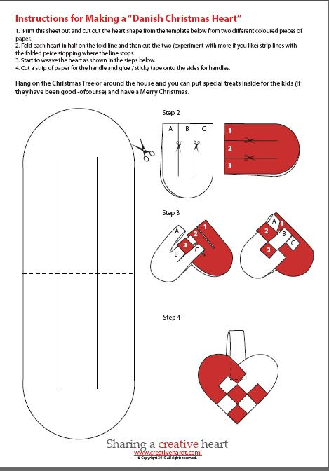 How To Weave A Danish Heart Basket : Danish christmas hearts template craft