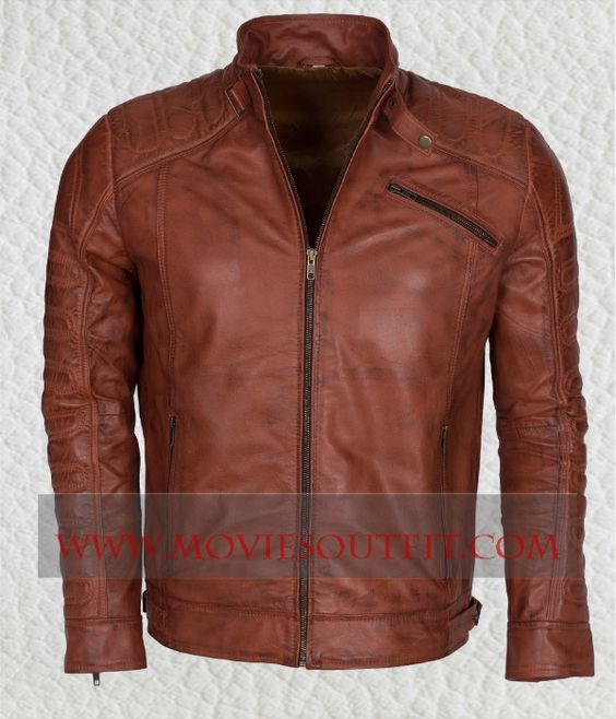 Mens Brown Biker Waxed Nappa Leather Jacket free shipping hot sale