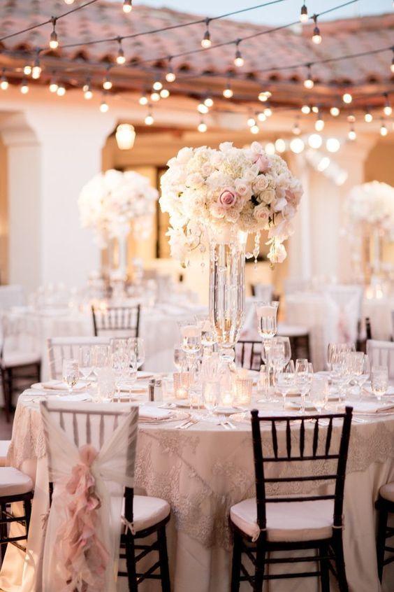 Photo: Michael & Anna Costa Photography; wedding centerpiece idea; Romantic Wedding Lighting Ideas #weddinginspiration