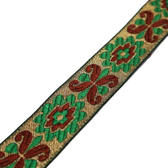 Brown Jacquard Recortar Floral Design Metallic Thread Weaving Border Sew Cordón 1 Yard: Amazon.es: Hogar