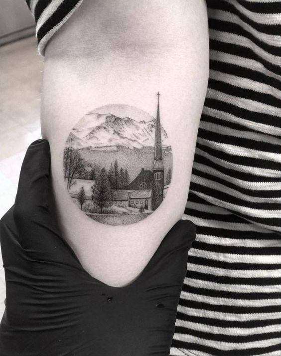 Fine Line Style Landscape Circle Tattoo Of A Small Town In