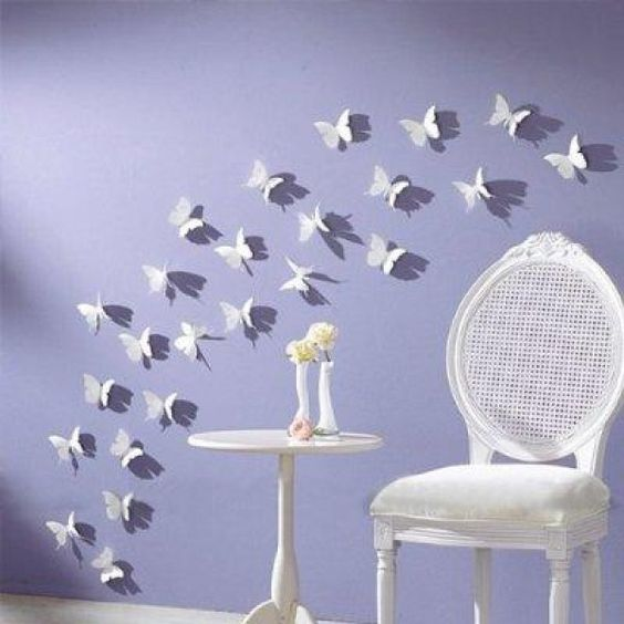 Shop LedChoice-12pcs 3D Butterfly Wall Stickers Decor Art Decorations White M at best prices!