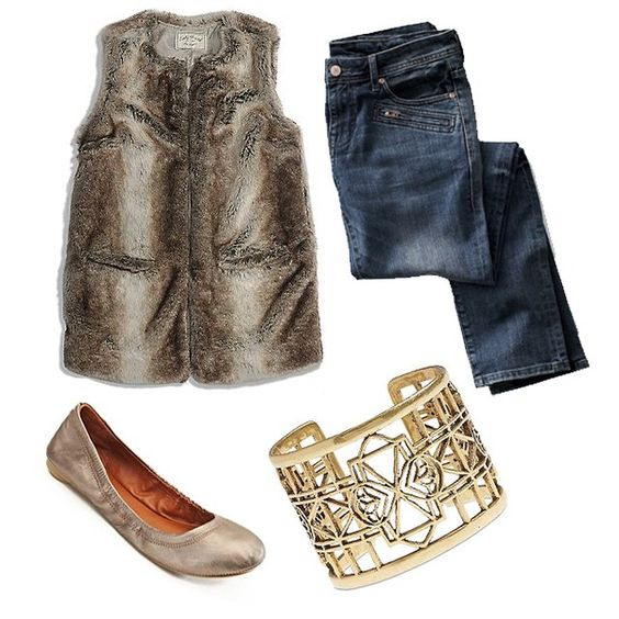 "Blogger Olia of ""Love, Olia"" Instagrammed her favorite Lucky Brand pieces, including our Faux Fur Vest, dark wash skinny jeans, Emmie Flats, and Clover Open Work Cuff Bracelet in November 2014."