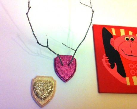 Glitter antler wall art