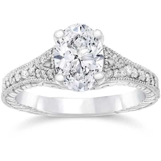 Bliss 14k Gold 1 1/4ct TDW Vintage Oval Diamond Engagement Ring