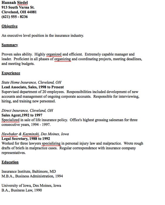 Example of Insurance Executive Resume -    resumesdesign - sample insurance executive resume