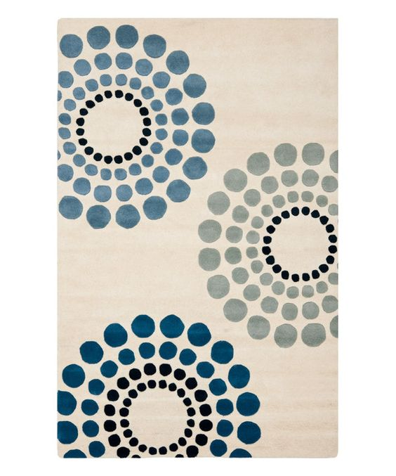Look at this Safavieh Ivory & Blue Hand Tufted Rug on #zulily today!