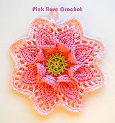 PINK ROSE CROCHET /: Pega Panelas Flor - Crochet Calla Lily Pot Holder...