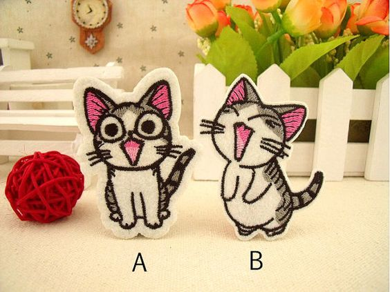 Cute Cartoon 2 designs cat embroidered patch / by StellaPatch, $2.58
